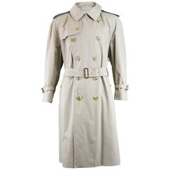 Burberry Vintage Men's Double Breasted Trench Coat, 1980s