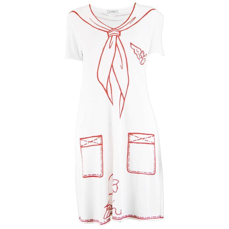 JC de Castelbajac Trompe L'oeil 'Madalfa' Rayon Knit Dress, 1990s