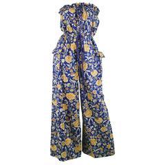 Liberty of London Floral Print Vintage Cotton Palazzo Jumpsuit, 1970s