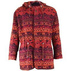 Kenzo Homme Men's Woven Tapestry Southwestern Style Wool Coat, c. 1980s