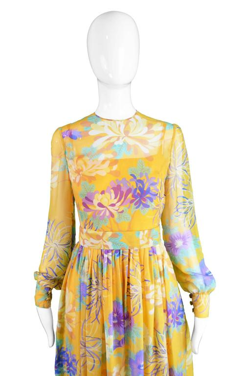 Léonor Barral French Demi Couture Vintage Silk Chiffon Dress, 1960s 3