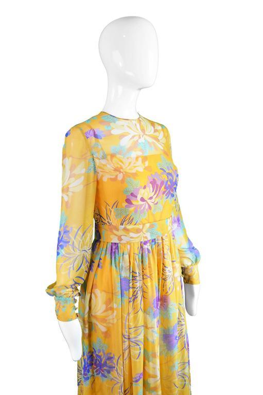Léonor Barral French Demi Couture Vintage Silk Chiffon Dress, 1960s 4