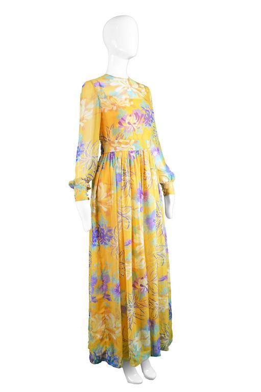 Léonor Barral French Demi Couture Vintage Silk Chiffon Dress, 1960s 5