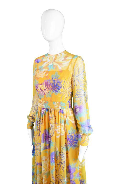 Léonor Barral French Demi Couture Vintage Silk Chiffon Dress, 1960s 6