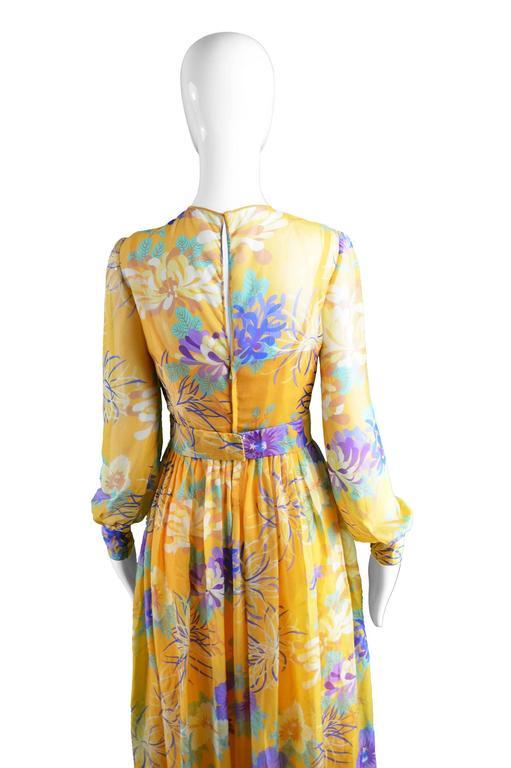 Léonor Barral French Demi Couture Vintage Silk Chiffon Dress, 1960s 8