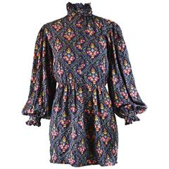 Oscar de la Renta Vintage Poet Sleeve Silk Tapestry Print Mini Dress, 1970s