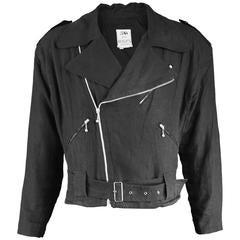 Rare Jean Paul Gaultier Pour Bogy's Men's Vintage Linen Biker Jacket, 1980s