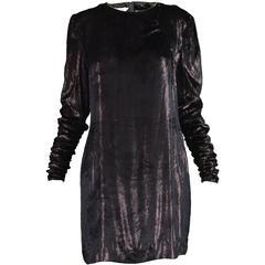 Mila Schon Black Silk Velvet & Gold Lurex Dress with Ruched Sleeves, 1980s