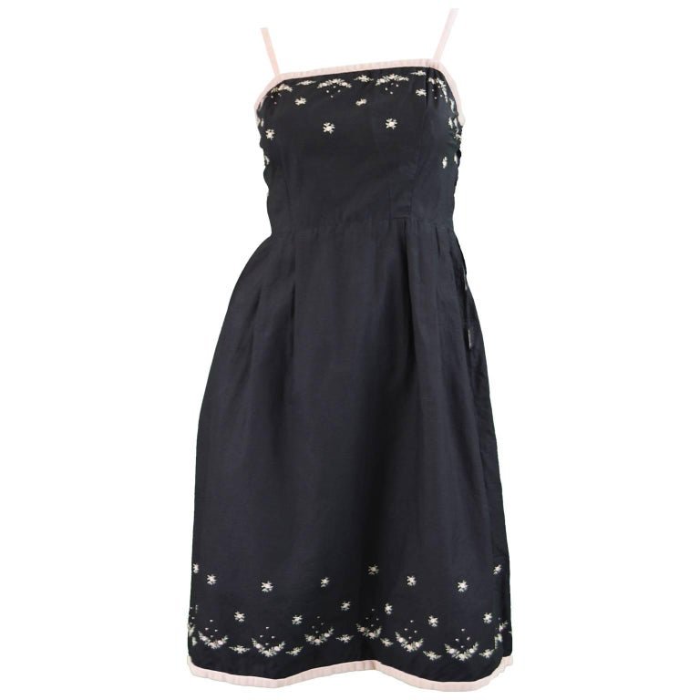 Anne Valore of Paris Couture Black Cotton Dress with Floral Embroidery, 1960s For Sale