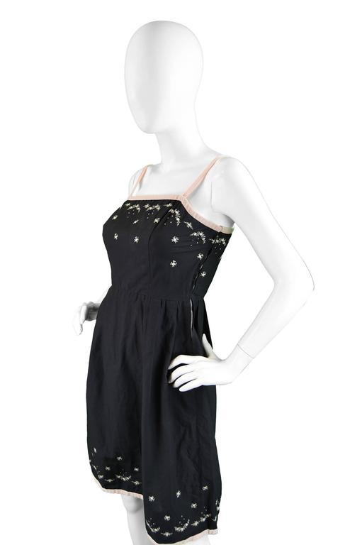 Anne Valore of Paris Couture Black Cotton Dress with Floral Embroidery, 1960s For Sale 1