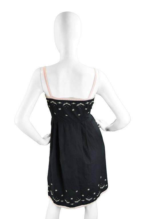 Anne Valore of Paris Couture Black Cotton Dress with Floral Embroidery, 1960s For Sale 4