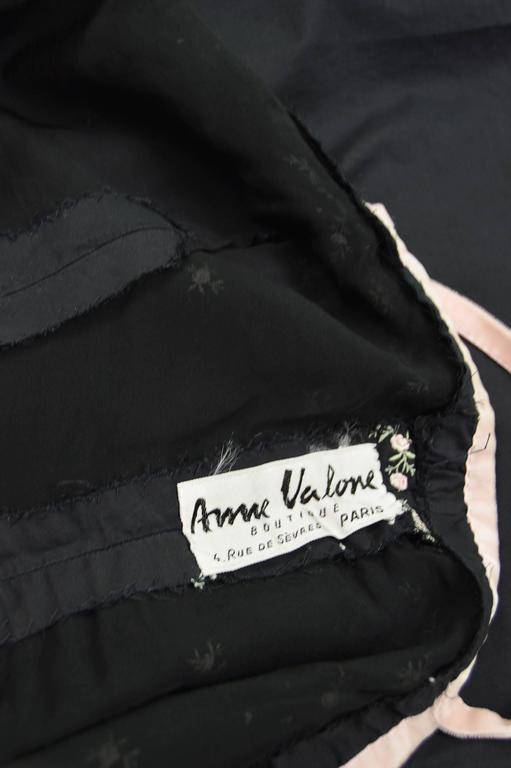 Anne Valore of Paris Couture Black Cotton Dress with Floral Embroidery, 1960s For Sale 6