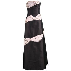 Bruce Oldfield Couture Trompe L'oeil Embroidered Silk & Organza Strapless Gown
