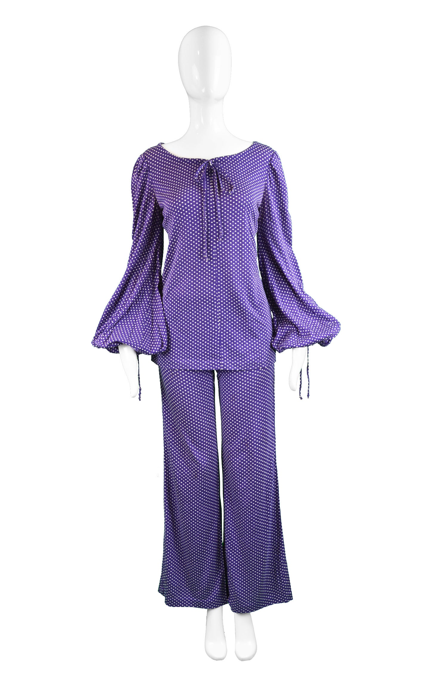 fa56d434b8 Biba Purple Polka Dot Two Piece Tunic Top and Palazzo Pant Suit ...