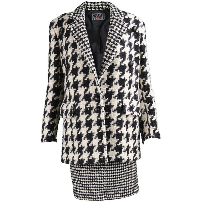 f4695836ad7 Gianfranco Ferre Vintage Oversized Houndstooth Blazer and Pencil Skirt  Suit