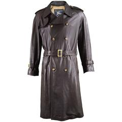 Burberry Men's Brown Leather Vintage Belted Trench Coat, 1960s