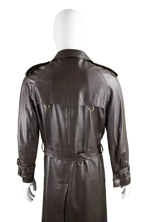 Burberry Men S Brown Leather Vintage Belted Trench Coat