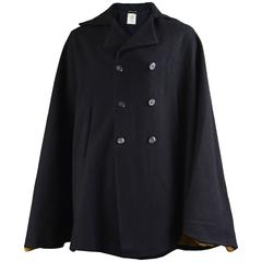 Way In Men's Double Breasted Black Vintage Mod Wool Cape, 1960s