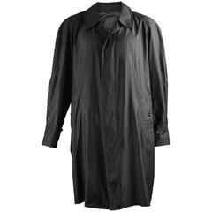 Burberry Men's Black Parachute Silk Vintage Wind Coat, 1980s
