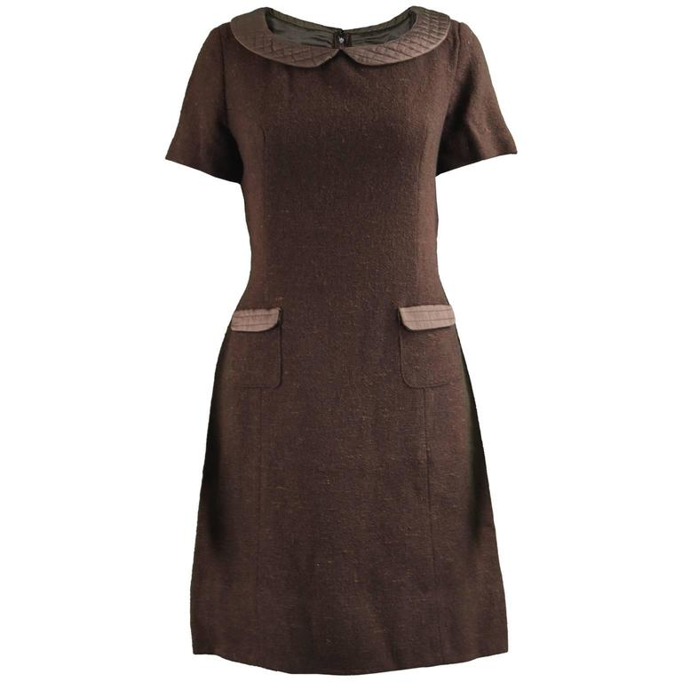Marcel Fenez Vintage Brown Wool Dress with Quilted Peter Pan Collar 1960s