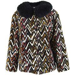 Val Hughes Chenille Tapestry Boho Jacket with Black Shearling Collar, 1970s