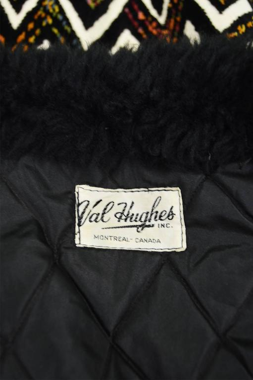 Val Hughes Chenille Tapestry Boho Jacket with Black Shearling Collar, 1970s For Sale 5