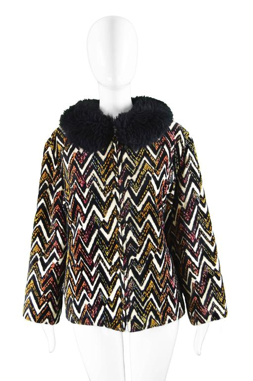 Val Hughes Chenille Tapestry Boho Jacket with Black Shearling Collar, 1970s In Excellent Condition For Sale In Doncaster, South Yorkshire