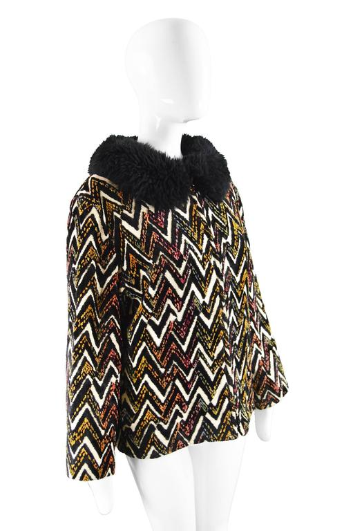Val Hughes Chenille Tapestry Boho Jacket with Black Shearling Collar, 1970s For Sale 1