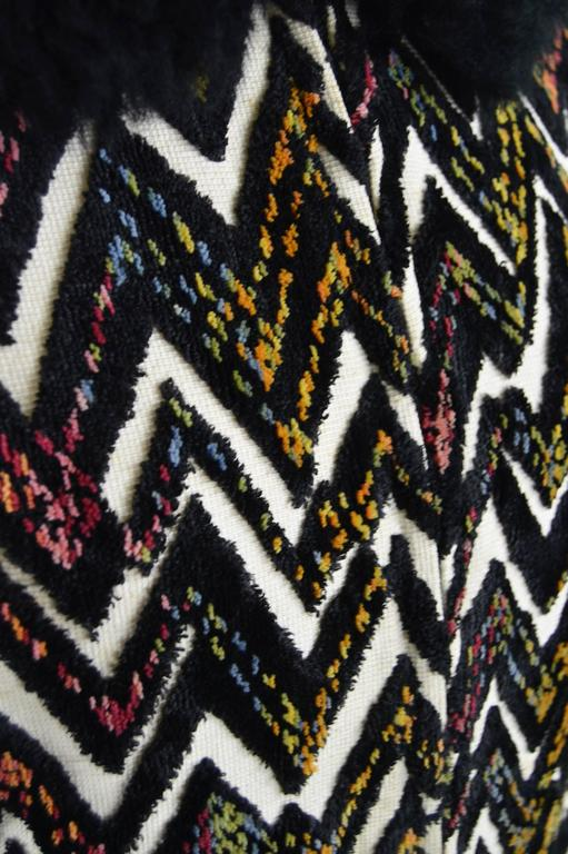 Val Hughes Chenille Tapestry Boho Jacket with Black Shearling Collar, 1970s For Sale 3