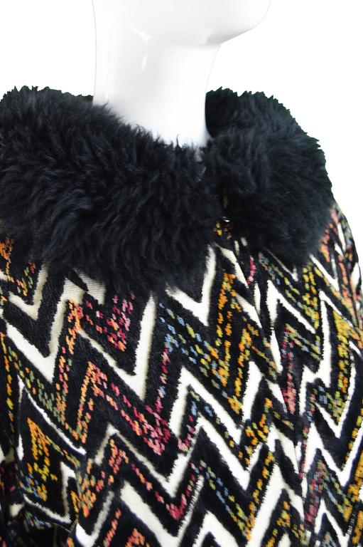 Val Hughes Chenille Tapestry Boho Jacket with Black Shearling Collar, 1970s For Sale 2
