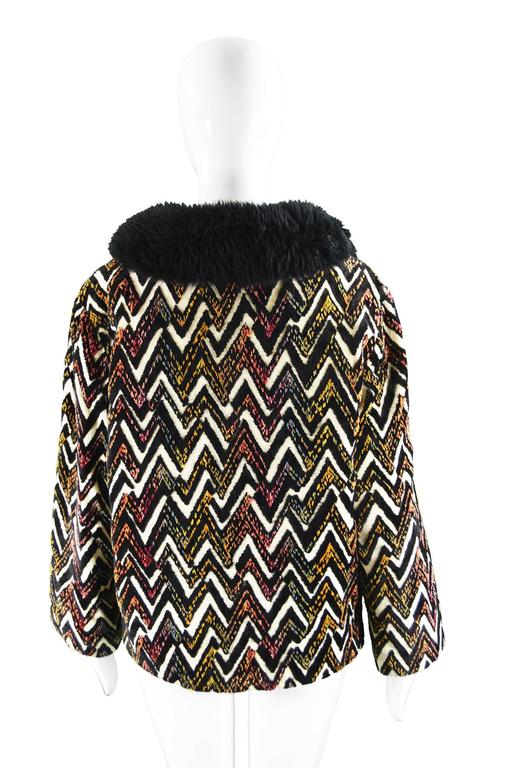 Val Hughes Chenille Tapestry Boho Jacket with Black Shearling Collar, 1970s For Sale 4