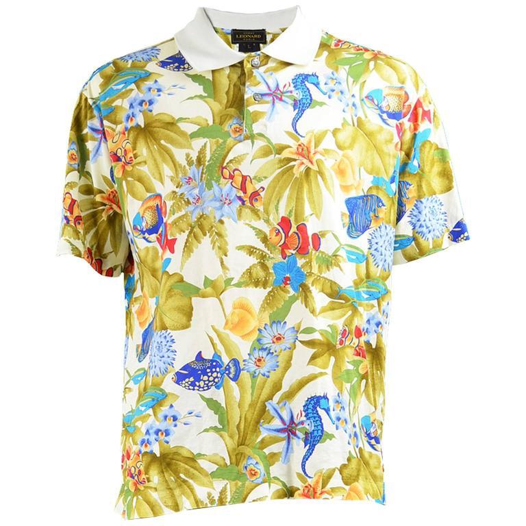 Leonard paris homme vintage men 39 s tropical fish print polo for Fish print shirt