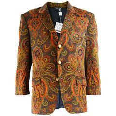Moschino Vintage Men's Unworn with Tags Velvet Paisley Blazer Jacket, 1980s