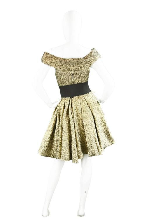 Pancaldi & B Gold Quilted Lamé Tulle Three Piece Bodysuit Skirt Ensemble, 1980s For Sale 4