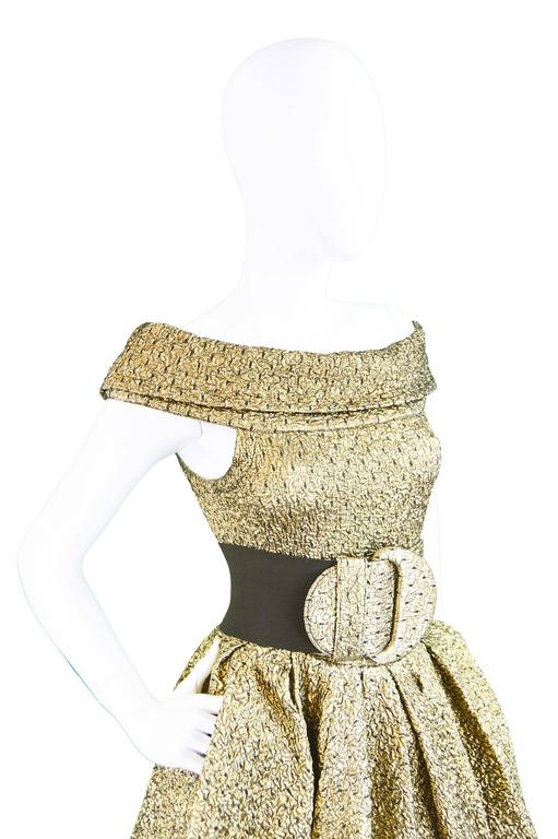 Pancaldi & B Gold Quilted Lamé Tulle Three Piece Bodysuit Skirt Ensemble, 1980s For Sale 2