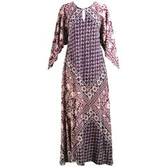Vintage 1970s Indian Cotton Maxi Kaftan Dress with Pointed Angel Sleeves
