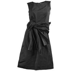 Chloe Black Silk Taffeta Cocktail Party Dress with Draped Bow Detail