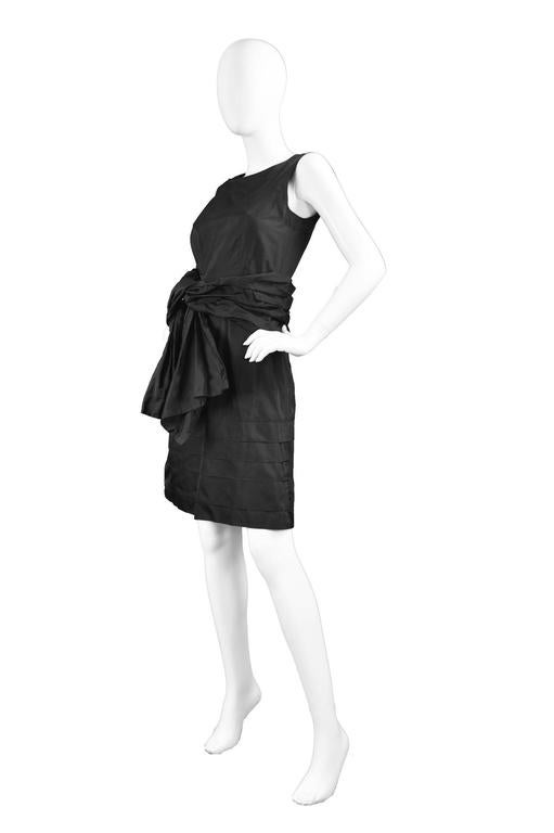Chloe Black Silk Taffeta Cocktail Party Dress with Draped Bow Detail For Sale 1
