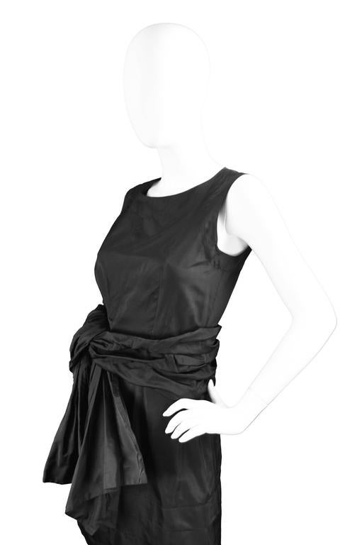 Women's Chloe Black Silk Taffeta Cocktail Party Dress with Draped Bow Detail For Sale