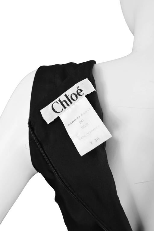 Chloe Black Silk Taffeta Cocktail Party Dress with Draped Bow Detail For Sale 3