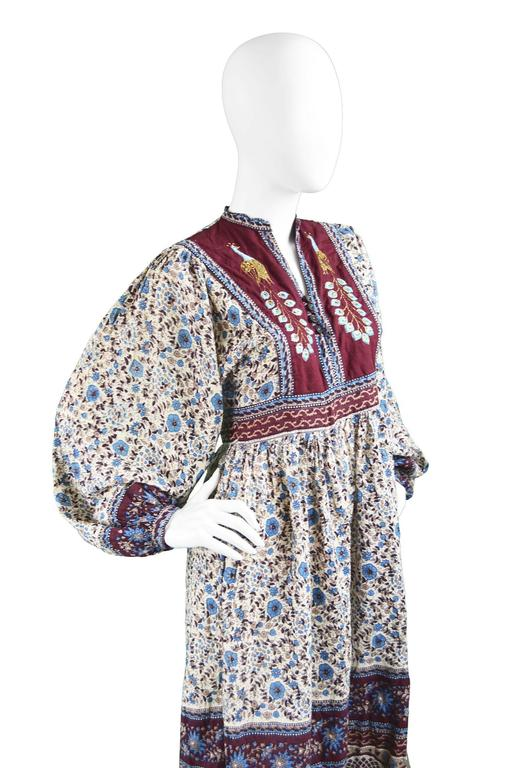 Vintage 1970s Indian Cotton Gauze Block Print Dress With