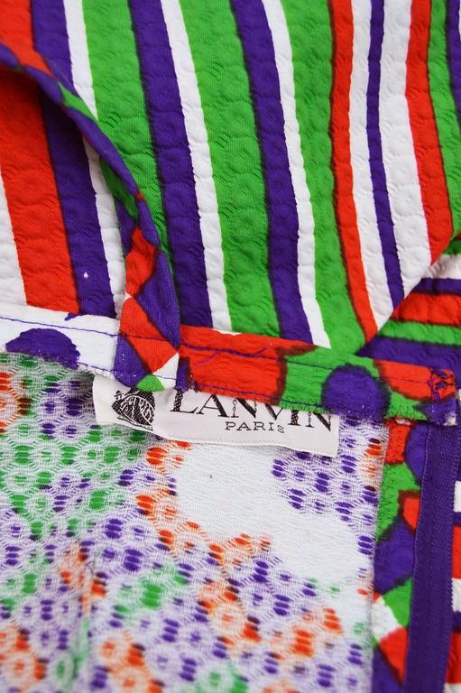 Lanvin Vintage Textured Quilted Cotton Geometric Floral Print, 1970s For Sale 5