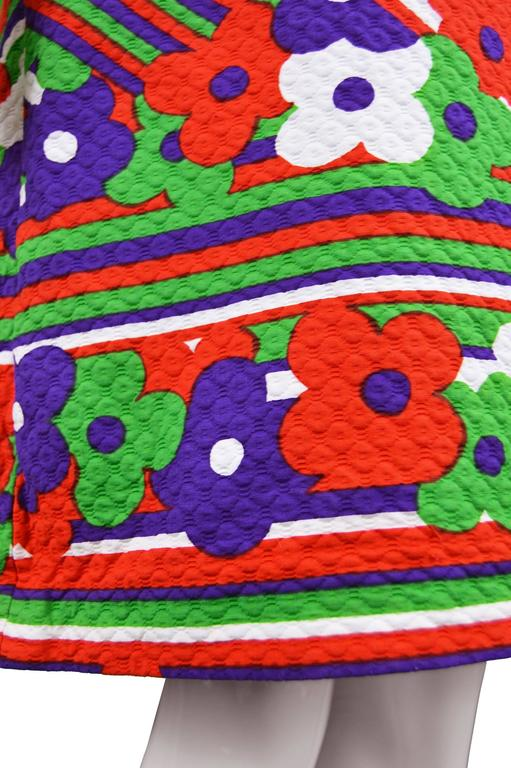 Lanvin Vintage Textured Quilted Cotton Geometric Floral Print, 1970s For Sale 3