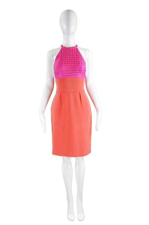 """Bruce Oldfield Couture Pink & Coral Embroidered Silk Party Dress, 1990s  Estimated Size: UK 8/ US 4/ EU 36. Please check measurements. Bust - Free due to open sides (More dependent on waist measurement) Waist - 26"""" / 66cm Hips - 36"""" /"""
