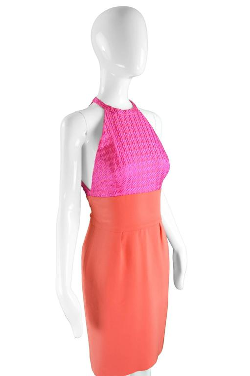Women's Bruce Oldfield Couture Pink & Coral Embroidered Silk Party Dress, 1990s For Sale