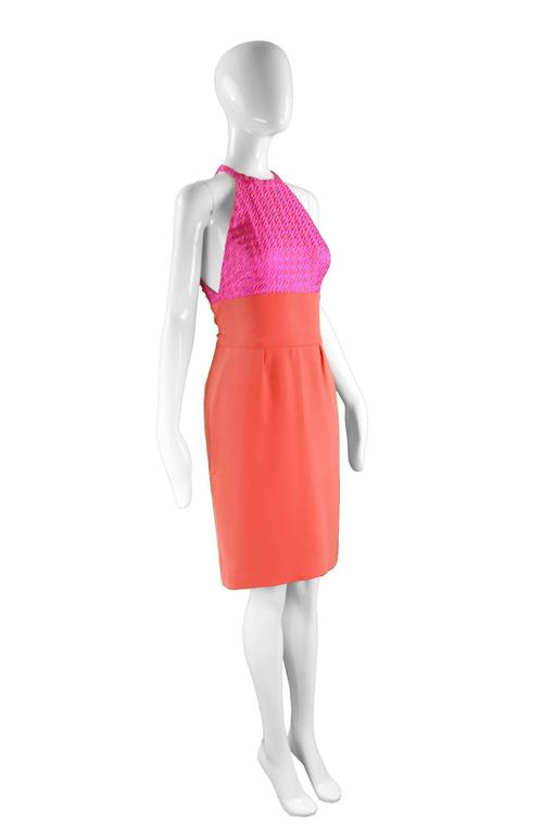 Bruce Oldfield Couture Pink & Coral Embroidered Silk Party Dress, 1990s For Sale 1
