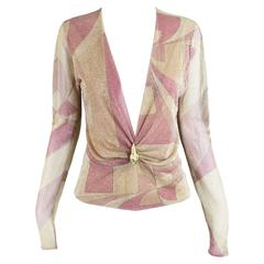Tom Ford for Gucci Plunging Neckline Gold & Pink Lurex Blouse, A/W 2000