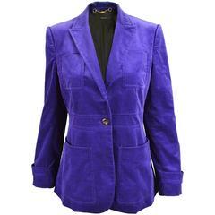 Gucci Purple Velvet Peaked Lapels Ladies Jacket