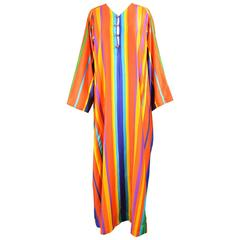 Neiman Marcus Mexican Style Caftan Rainbow Stripe Maxi Dress, 1970s