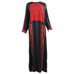 Hand Embroidered Black Vintage Bedouin Palestinian Tribal Dress, c.1930s